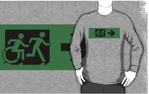 Accessible Means of Egress Icon Exit Sign Wheelchair Wheelie Running Man Symbol by Lee Wilson PWD Disability Emergency Evacuation Adult T-shirt 116