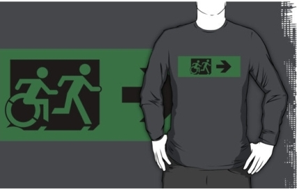 Accessible Means of Egress Icon Exit Sign Wheelchair Wheelie Running Man Symbol by Lee Wilson PWD Disability Emergency Evacuation Adult T-shirt 117