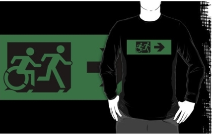 Accessible Means of Egress Icon Exit Sign Wheelchair Wheelie Running Man Symbol by Lee Wilson PWD Disability Emergency Evacuation Adult T-shirt 118