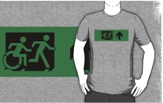Accessible Means of Egress Icon Exit Sign Wheelchair Wheelie Running Man Symbol by Lee Wilson PWD Disability Emergency Evacuation Adult T-shirt 119