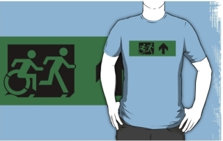Accessible Means of Egress Icon Exit Sign Wheelchair Wheelie Running Man Symbol by Lee Wilson PWD Disability Emergency Evacuation Adult T-shirt 120