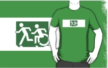 Accessible Means of Egress Icon Exit Sign Wheelchair Wheelie Running Man Symbol by Lee Wilson PWD Disability Emergency Evacuation Adult T-shirt 121