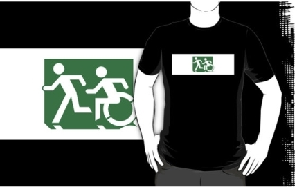 Accessible Means of Egress Icon Exit Sign Wheelchair Wheelie Running Man Symbol by Lee Wilson PWD Disability Emergency Evacuation Adult T-shirt 122