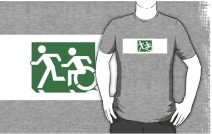 Accessible Means of Egress Icon Exit Sign Wheelchair Wheelie Running Man Symbol by Lee Wilson PWD Disability Emergency Evacuation Adult T-shirt 123