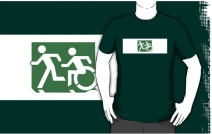 Accessible Means of Egress Icon Exit Sign Wheelchair Wheelie Running Man Symbol by Lee Wilson PWD Disability Emergency Evacuation Adult T-shirt 124