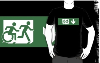 Accessible Means of Egress Icon Exit Sign Wheelchair Wheelie Running Man Symbol by Lee Wilson PWD Disability Emergency Evacuation Adult T-shirt 125
