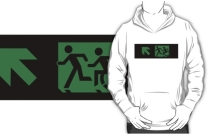 Accessible Means of Egress Icon Exit Sign Wheelchair Wheelie Running Man Symbol by Lee Wilson PWD Disability Emergency Evacuation Adult T-shirt 126