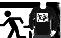 Accessible Means of Egress Icon Exit Sign Wheelchair Wheelie Running Man Symbol by Lee Wilson PWD Disability Emergency Evacuation Adult T-shirt 127