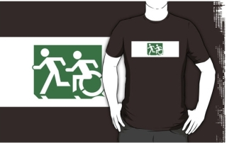 Accessible Means of Egress Icon Exit Sign Wheelchair Wheelie Running Man Symbol by Lee Wilson PWD Disability Emergency Evacuation Adult T-shirt 128
