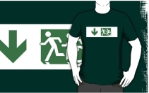 Accessible Means of Egress Icon Exit Sign Wheelchair Wheelie Running Man Symbol by Lee Wilson PWD Disability Emergency Evacuation Adult T-shirt 129