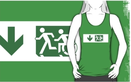 Accessible Means of Egress Icon Exit Sign Wheelchair Wheelie Running Man Symbol by Lee Wilson PWD Disability Emergency Evacuation Adult T-shirt 130