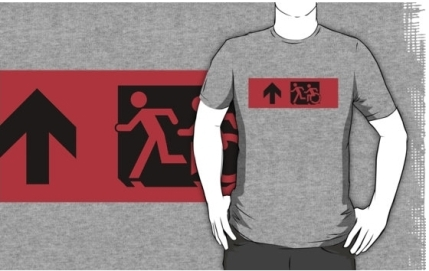 Accessible Means of Egress Icon Exit Sign Wheelchair Wheelie Running Man Symbol by Lee Wilson PWD Disability Emergency Evacuation Adult T-shirt 13