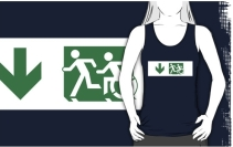 Accessible Means of Egress Icon Exit Sign Wheelchair Wheelie Running Man Symbol by Lee Wilson PWD Disability Emergency Evacuation Adult T-shirt 131