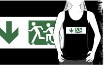 Accessible Means of Egress Icon Exit Sign Wheelchair Wheelie Running Man Symbol by Lee Wilson PWD Disability Emergency Evacuation Adult T-shirt 132
