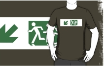 Accessible Means of Egress Icon Exit Sign Wheelchair Wheelie Running Man Symbol by Lee Wilson PWD Disability Emergency Evacuation Adult T-shirt 133