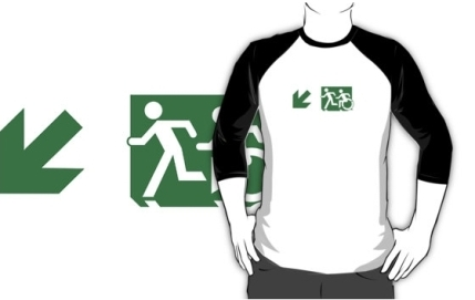 Accessible Means of Egress Icon Exit Sign Wheelchair Wheelie Running Man Symbol by Lee Wilson PWD Disability Emergency Evacuation Adult T-shirt 134