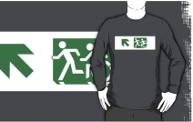 Accessible Means of Egress Icon Exit Sign Wheelchair Wheelie Running Man Symbol by Lee Wilson PWD Disability Emergency Evacuation Adult T-shirt 136