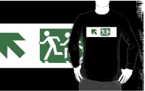 Accessible Means of Egress Icon Exit Sign Wheelchair Wheelie Running Man Symbol by Lee Wilson PWD Disability Emergency Evacuation Adult T-shirt 137