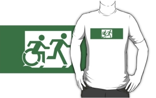 Accessible Means of Egress Icon Exit Sign Wheelchair Wheelie Running Man Symbol by Lee Wilson PWD Disability Emergency Evacuation Adult T-shirt 138