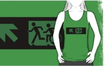 Accessible Means of Egress Icon Exit Sign Wheelchair Wheelie Running Man Symbol by Lee Wilson PWD Disability Emergency Evacuation Adult T-shirt 139