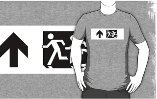 Accessible Means of Egress Icon Exit Sign Wheelchair Wheelie Running Man Symbol by Lee Wilson PWD Disability Emergency Evacuation Adult T-shirt 14