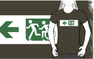 Accessible Means of Egress Icon Exit Sign Wheelchair Wheelie Running Man Symbol by Lee Wilson PWD Disability Emergency Evacuation Adult T-shirt 141