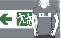 Accessible Means of Egress Icon Exit Sign Wheelchair Wheelie Running Man Symbol by Lee Wilson PWD Disability Emergency Evacuation Adult T-shirt 142