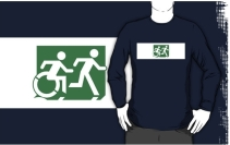 Accessible Means of Egress Icon Exit Sign Wheelchair Wheelie Running Man Symbol by Lee Wilson PWD Disability Emergency Evacuation Adult T-shirt 143
