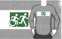 Accessible Means of Egress Icon Exit Sign Wheelchair Wheelie Running Man Symbol by Lee Wilson PWD Disability Emergency Evacuation Adult T-shirt 144