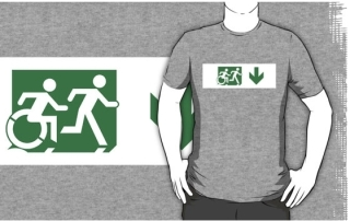 Accessible Means of Egress Icon Exit Sign Wheelchair Wheelie Running Man Symbol by Lee Wilson PWD Disability Emergency Evacuation Adult T-shirt 145