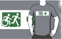 Accessible Means of Egress Icon Exit Sign Wheelchair Wheelie Running Man Symbol by Lee Wilson PWD Disability Emergency Evacuation Adult T-shirt 146