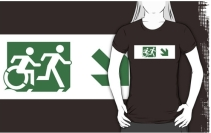 Accessible Means of Egress Icon Exit Sign Wheelchair Wheelie Running Man Symbol by Lee Wilson PWD Disability Emergency Evacuation Adult T-shirt 147