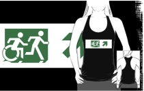 Accessible Means of Egress Icon Exit Sign Wheelchair Wheelie Running Man Symbol by Lee Wilson PWD Disability Emergency Evacuation Adult T-shirt 148