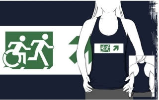 Accessible Means of Egress Icon Exit Sign Wheelchair Wheelie Running Man Symbol by Lee Wilson PWD Disability Emergency Evacuation Adult T-shirt 149