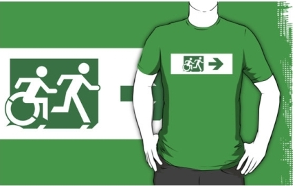 Accessible Means of Egress Icon Exit Sign Wheelchair Wheelie Running Man Symbol by Lee Wilson PWD Disability Emergency Evacuation Adult T-shirt 150
