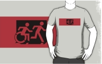 Accessible Means of Egress Icon Exit Sign Wheelchair Wheelie Running Man Symbol by Lee Wilson PWD Disability Emergency Evacuation Adult T-shirt 15
