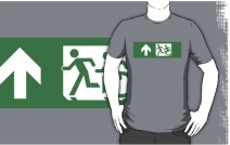 Accessible Means of Egress Icon Exit Sign Wheelchair Wheelie Running Man Symbol by Lee Wilson PWD Disability Emergency Evacuation Adult T-shirt 151