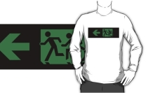 Accessible Means of Egress Icon Exit Sign Wheelchair Wheelie Running Man Symbol by Lee Wilson PWD Disability Emergency Evacuation Adult T-shirt 152