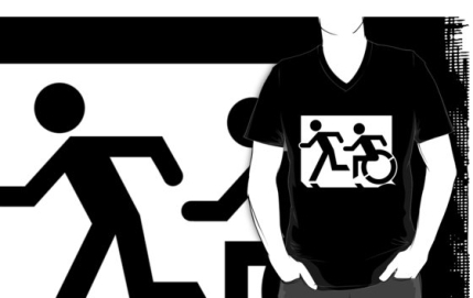 Accessible Means of Egress Icon Exit Sign Wheelchair Wheelie Running Man Symbol by Lee Wilson PWD Disability Emergency Evacuation Adult T-shirt 153