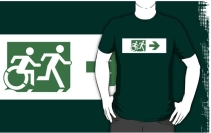 Accessible Means of Egress Icon Exit Sign Wheelchair Wheelie Running Man Symbol by Lee Wilson PWD Disability Emergency Evacuation Adult T-shirt 154