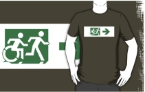 Accessible Means of Egress Icon Exit Sign Wheelchair Wheelie Running Man Symbol by Lee Wilson PWD Disability Emergency Evacuation Adult T-shirt 155