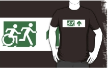 Accessible Means of Egress Icon Exit Sign Wheelchair Wheelie Running Man Symbol by Lee Wilson PWD Disability Emergency Evacuation Adult T-shirt 156