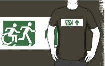 Accessible Means of Egress Icon Exit Sign Wheelchair Wheelie Running Man Symbol by Lee Wilson PWD Disability Emergency Evacuation Adult T-shirt 157