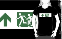 Accessible Means of Egress Icon Exit Sign Wheelchair Wheelie Running Man Symbol by Lee Wilson PWD Disability Emergency Evacuation Adult T-shirt 158