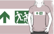 Accessible Means of Egress Icon Exit Sign Wheelchair Wheelie Running Man Symbol by Lee Wilson PWD Disability Emergency Evacuation Adult T-shirt 159