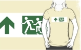 Accessible Means of Egress Icon Exit Sign Wheelchair Wheelie Running Man Symbol by Lee Wilson PWD Disability Emergency Evacuation Adult T-shirt 160