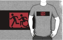 Accessible Means of Egress Icon Exit Sign Wheelchair Wheelie Running Man Symbol by Lee Wilson PWD Disability Emergency Evacuation Adult T-shirt 161