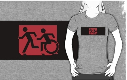 Accessible Means of Egress Icon Exit Sign Wheelchair Wheelie Running Man Symbol by Lee Wilson PWD Disability Emergency Evacuation Adult T-shirt 162