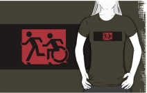 Accessible Means of Egress Icon Exit Sign Wheelchair Wheelie Running Man Symbol by Lee Wilson PWD Disability Emergency Evacuation Adult T-shirt 163