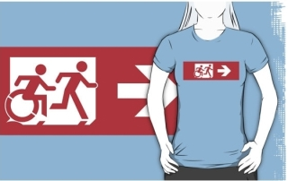 Accessible Means of Egress Icon Exit Sign Wheelchair Wheelie Running Man Symbol by Lee Wilson PWD Disability Emergency Evacuation Adult T-shirt 164